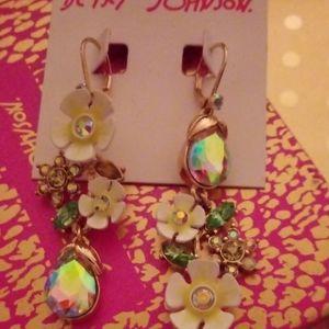NWT Betsey Johnson Flowers & Gems Earrings